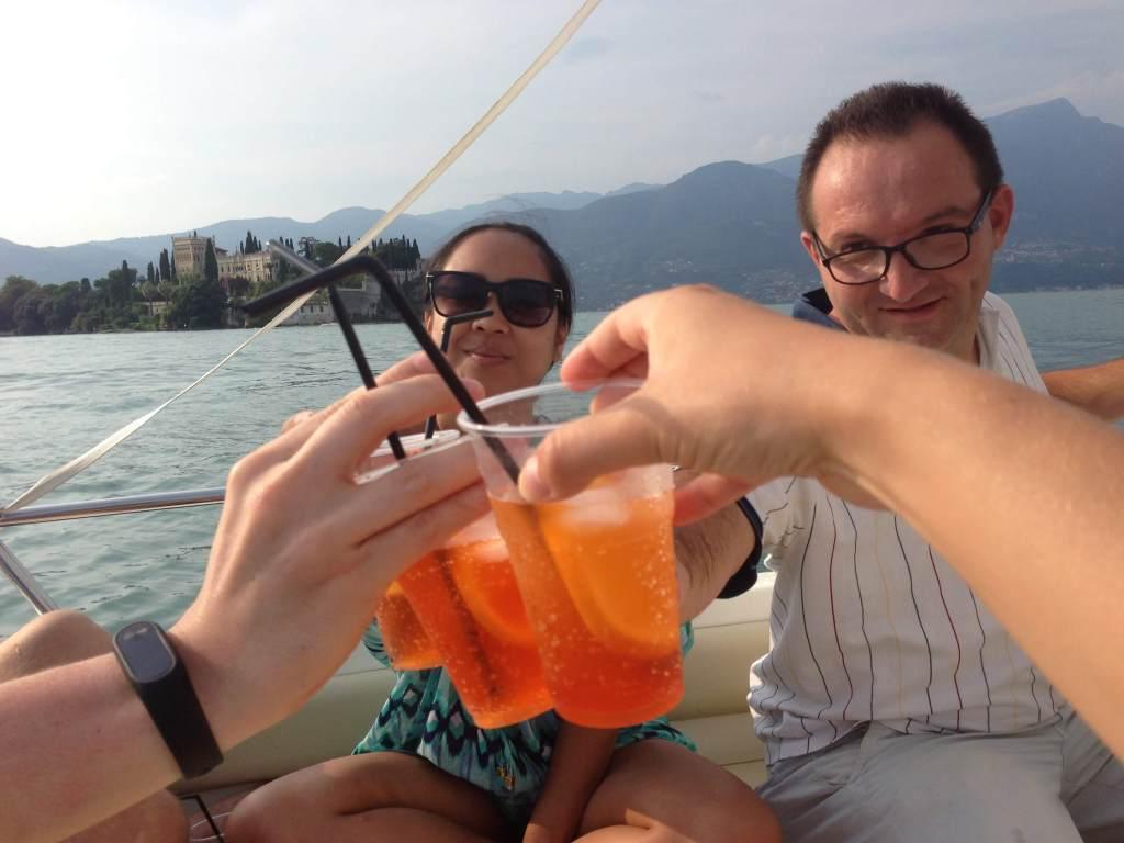 Couchsurfing friends Lake Garda Lago di Garda Italy Aperol Spritz boat