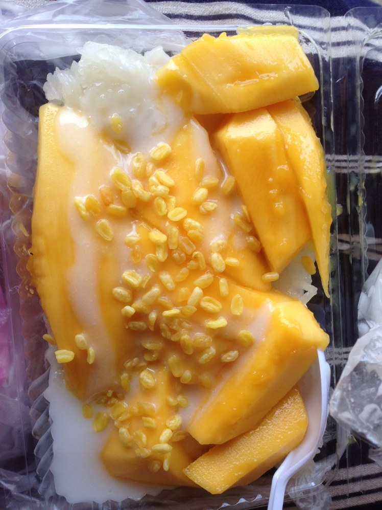 Mango sticky rice coconut Thai food cuisine Thailand