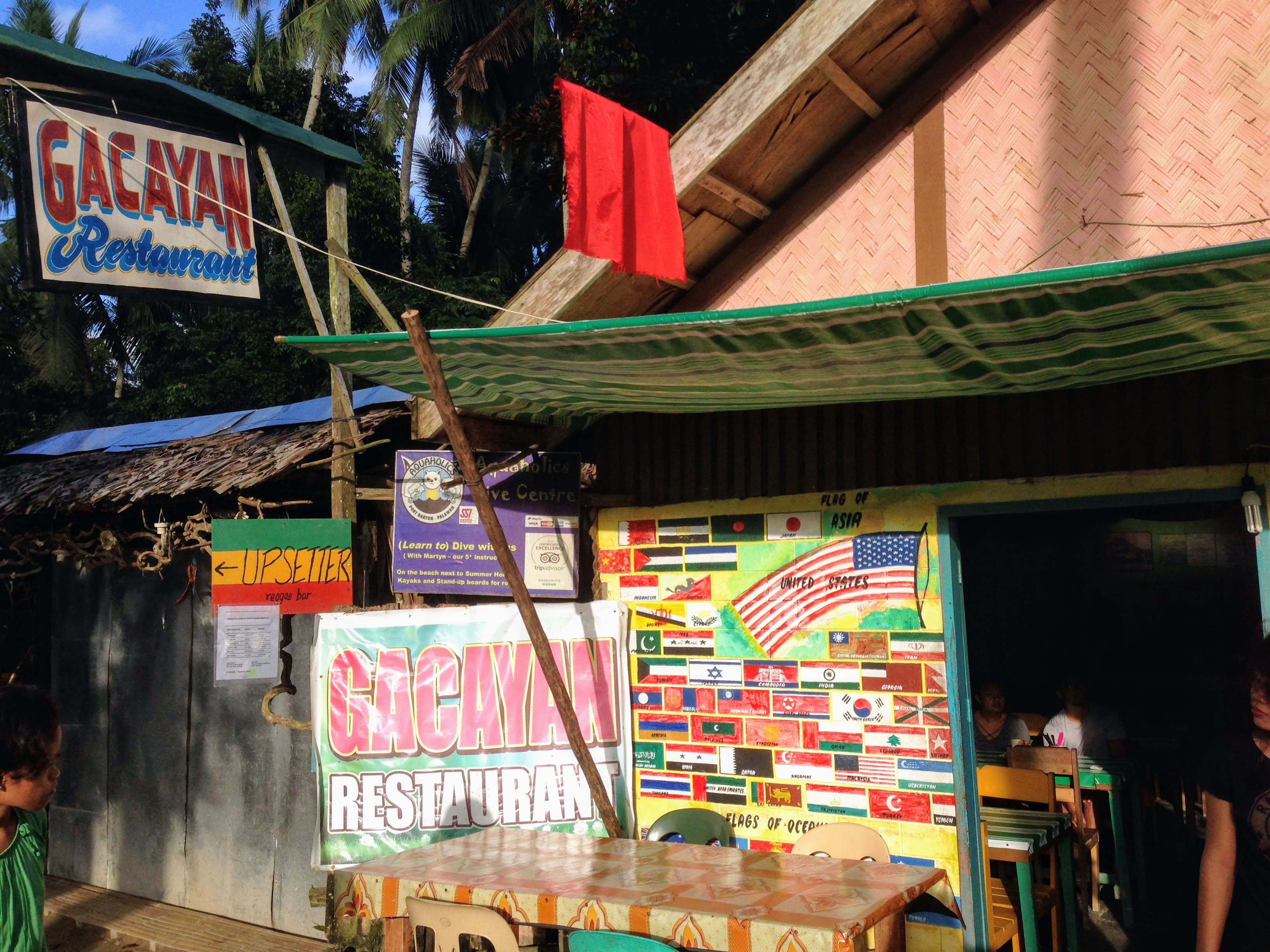 traditional Filipino restaurant Port Barton Palawan Philippines