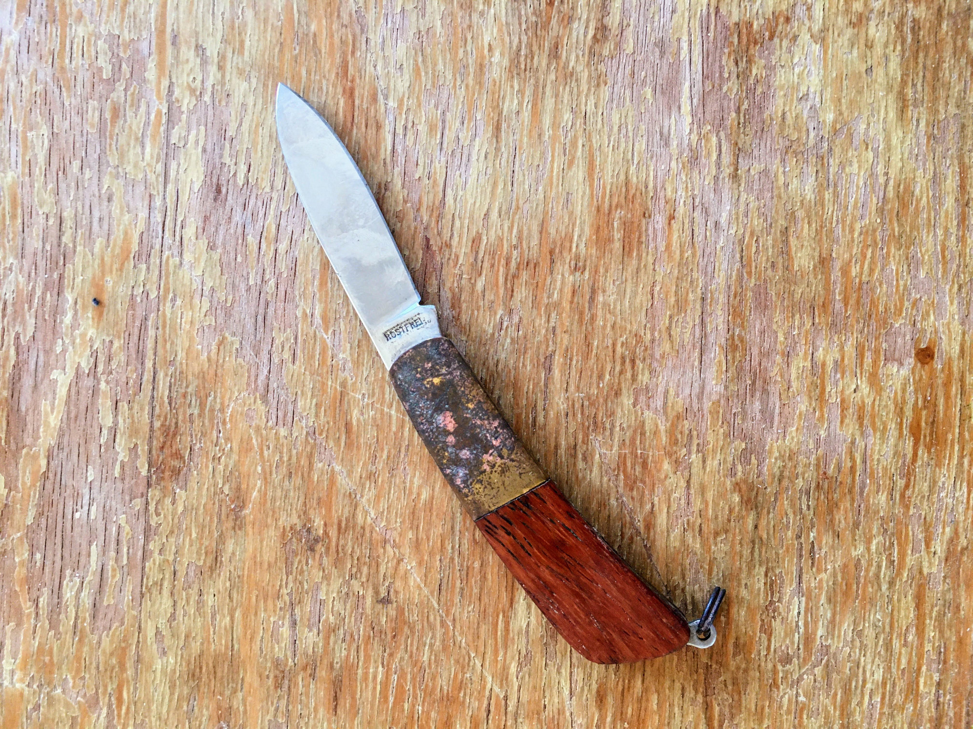 pocket knife wood handle travel gadget