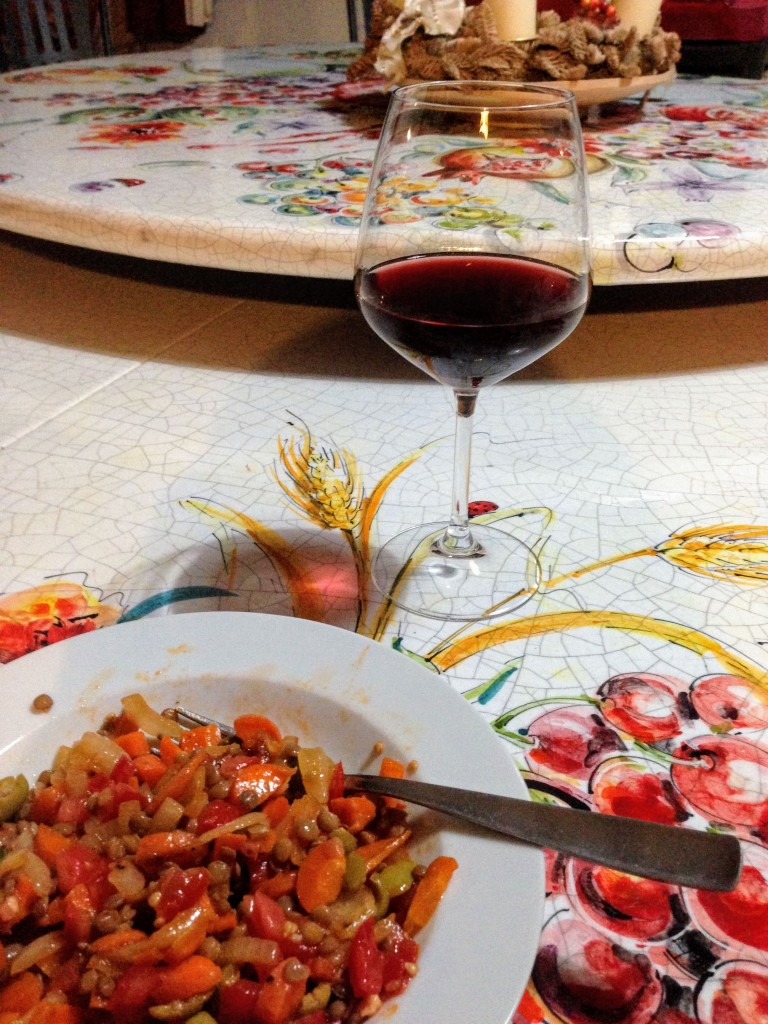 red wine food dinner travel Italy Umbria vineyard