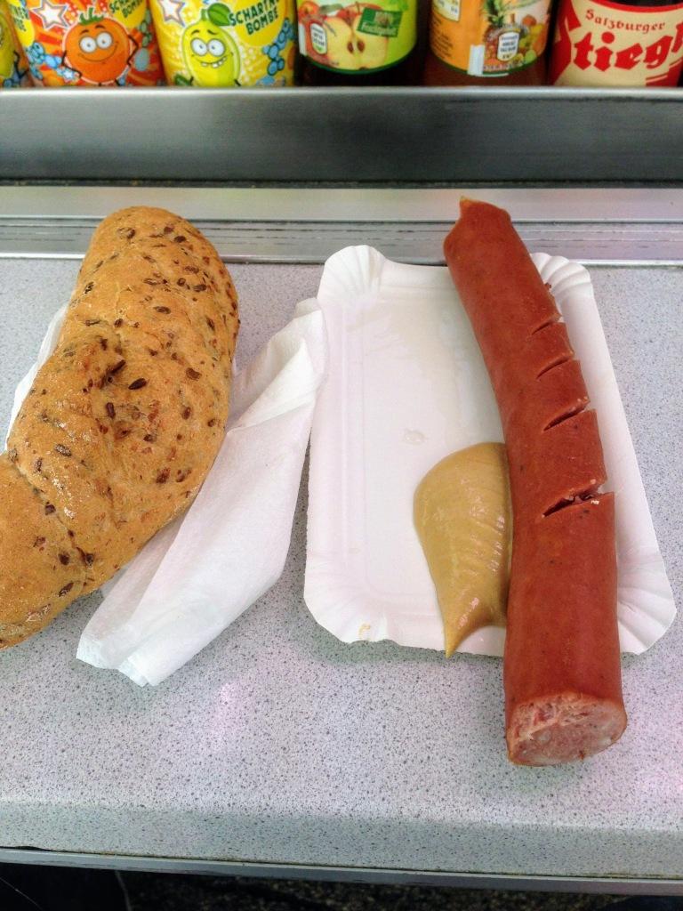Austrian sausage krainer Salzburg street vendor food guide