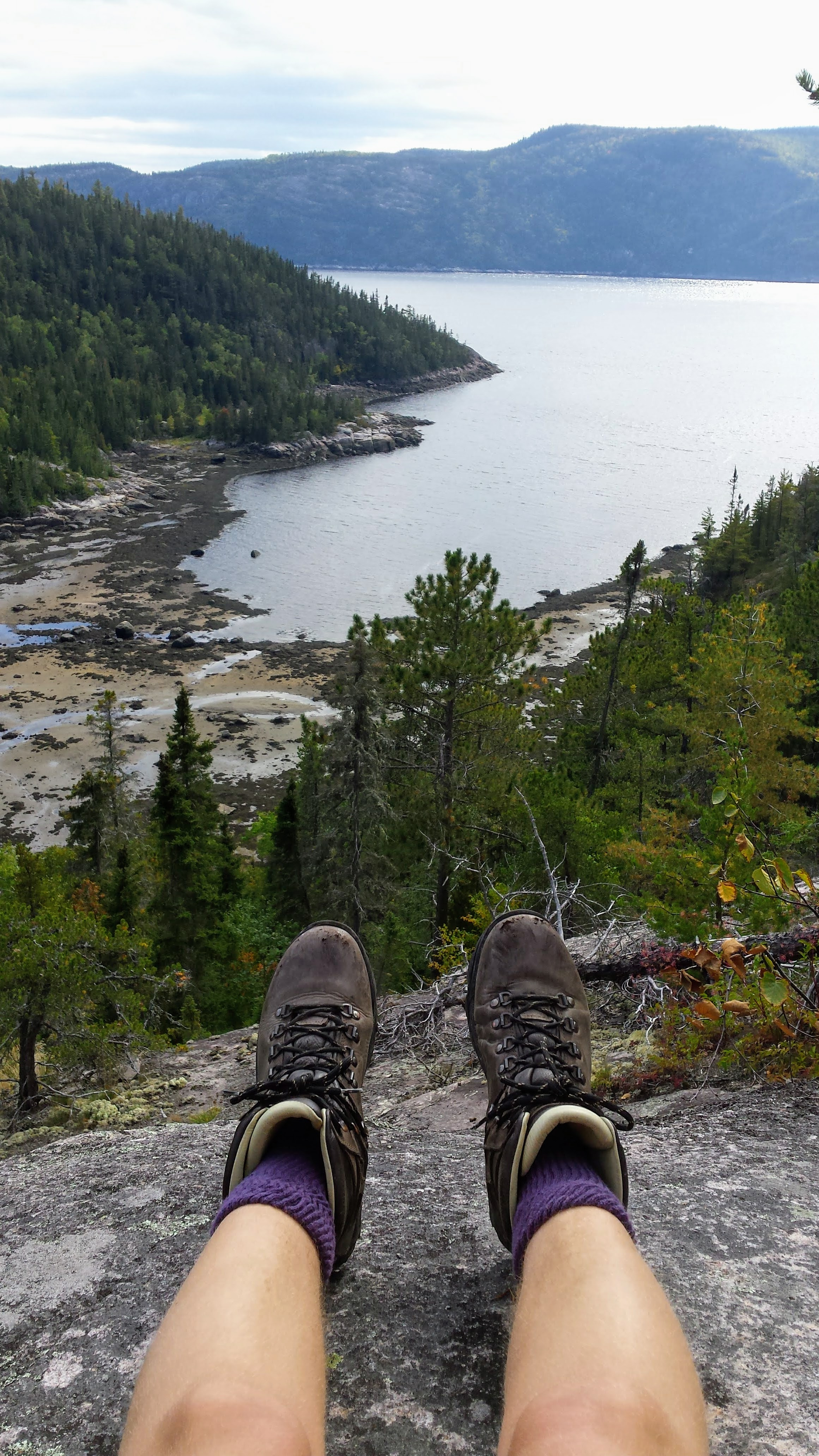 Hiking boots Canada viewpoint Tadoussac