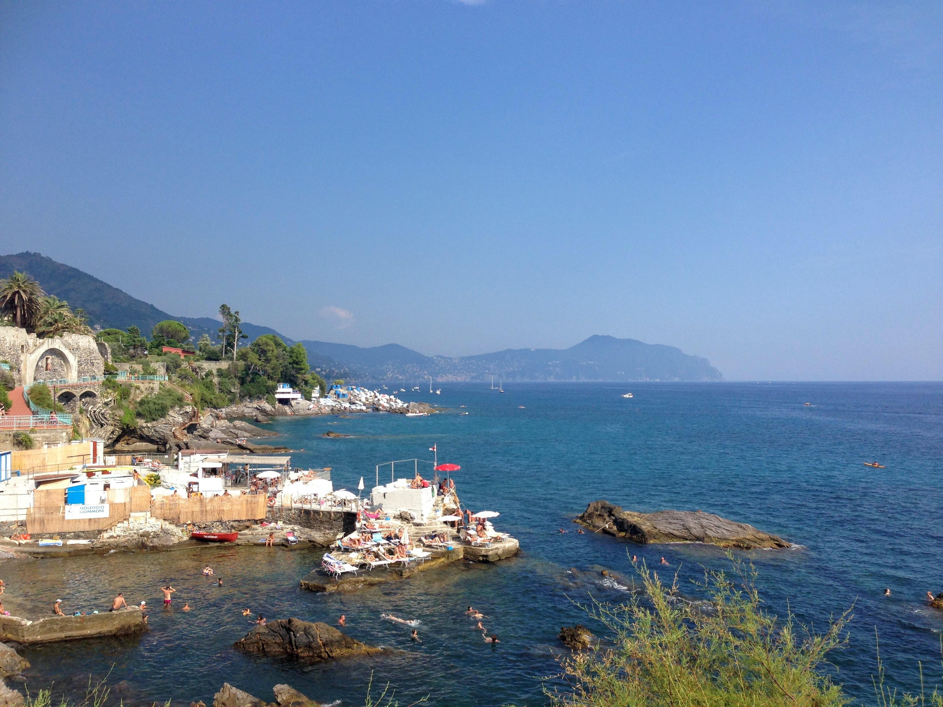 Genova Italy Nervi fishermens village seaside beach