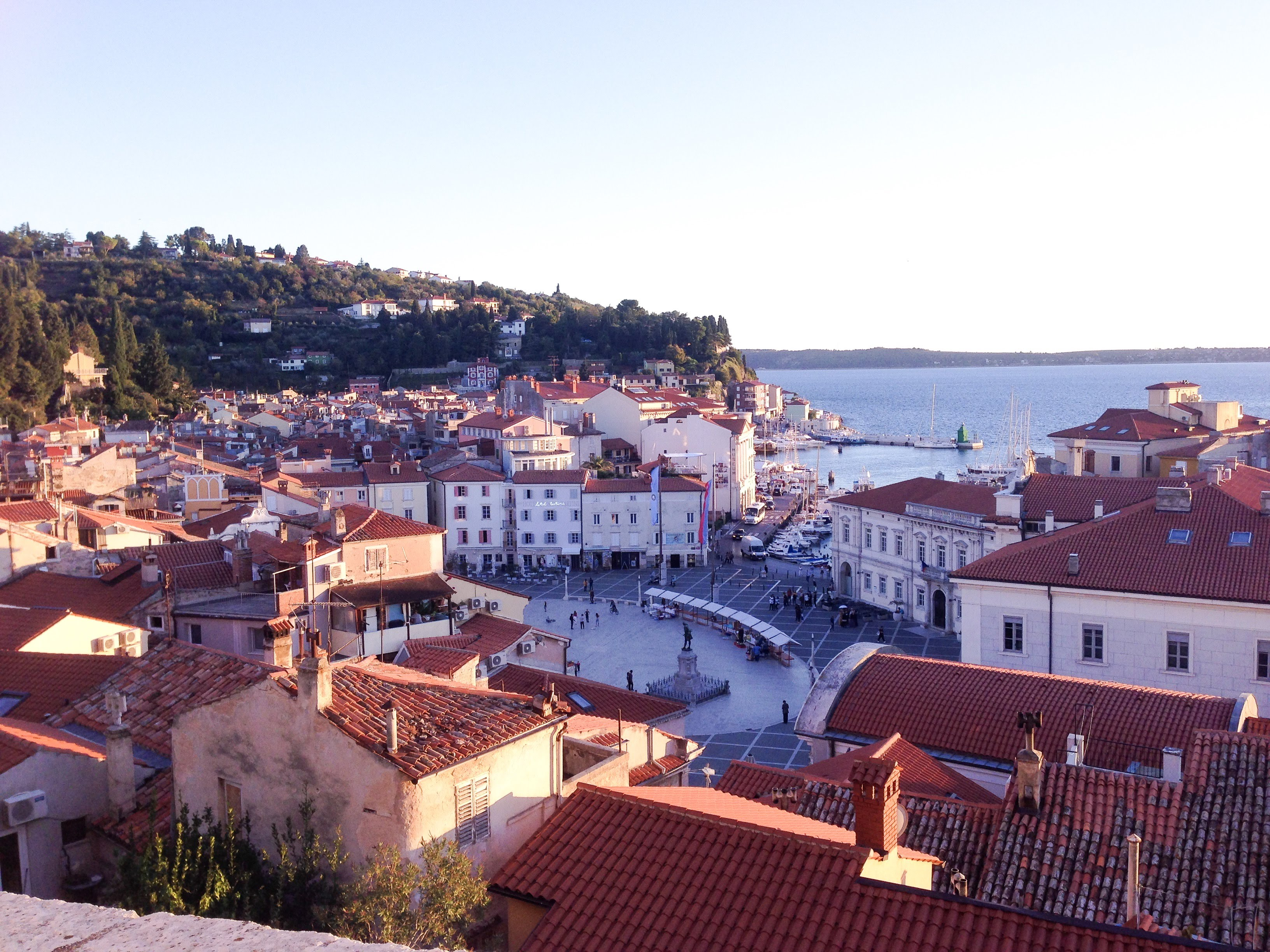 sunset wine food walking tour piran slovenia view church