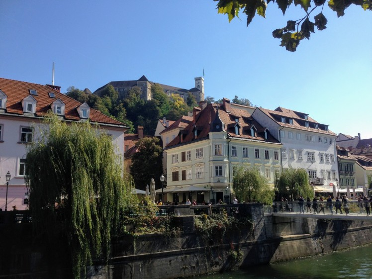 River view Ljubljana Castle historic city centre Slovenia