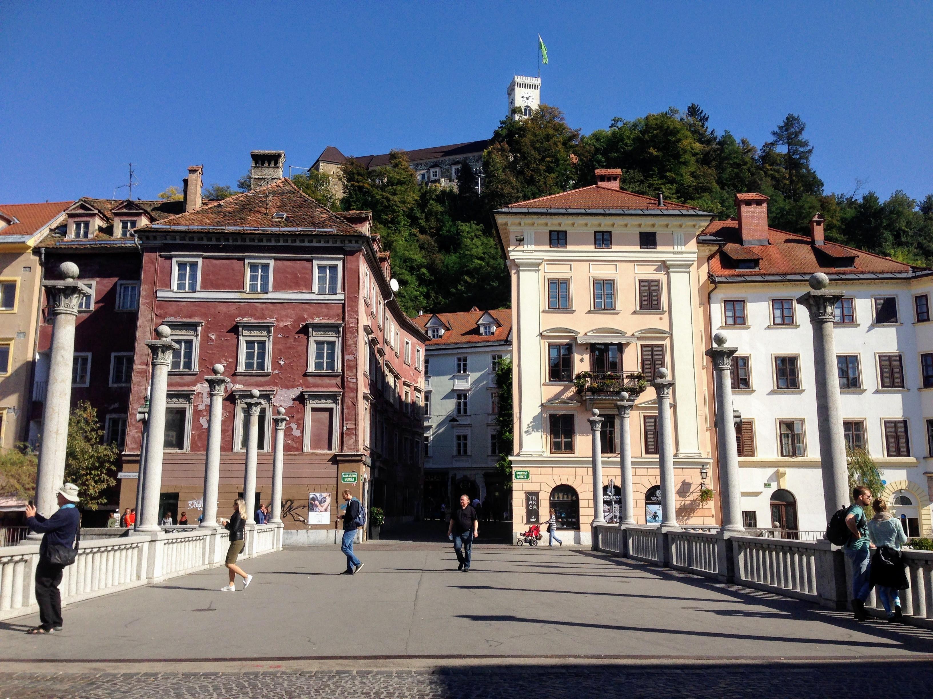 Lubljana architecture river castle clovenia historic city centre