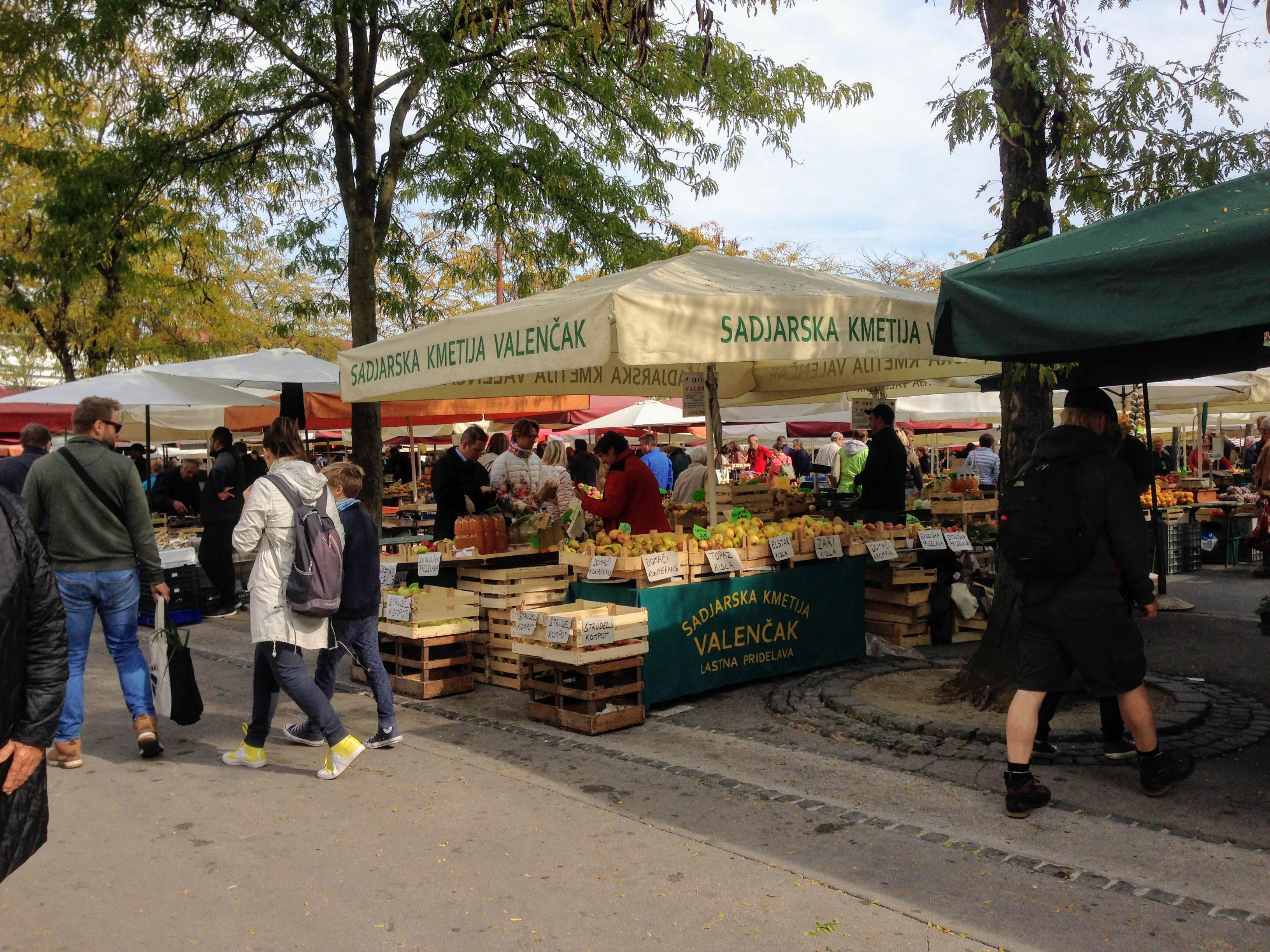 Ljubljana farmer market Slovenia local food