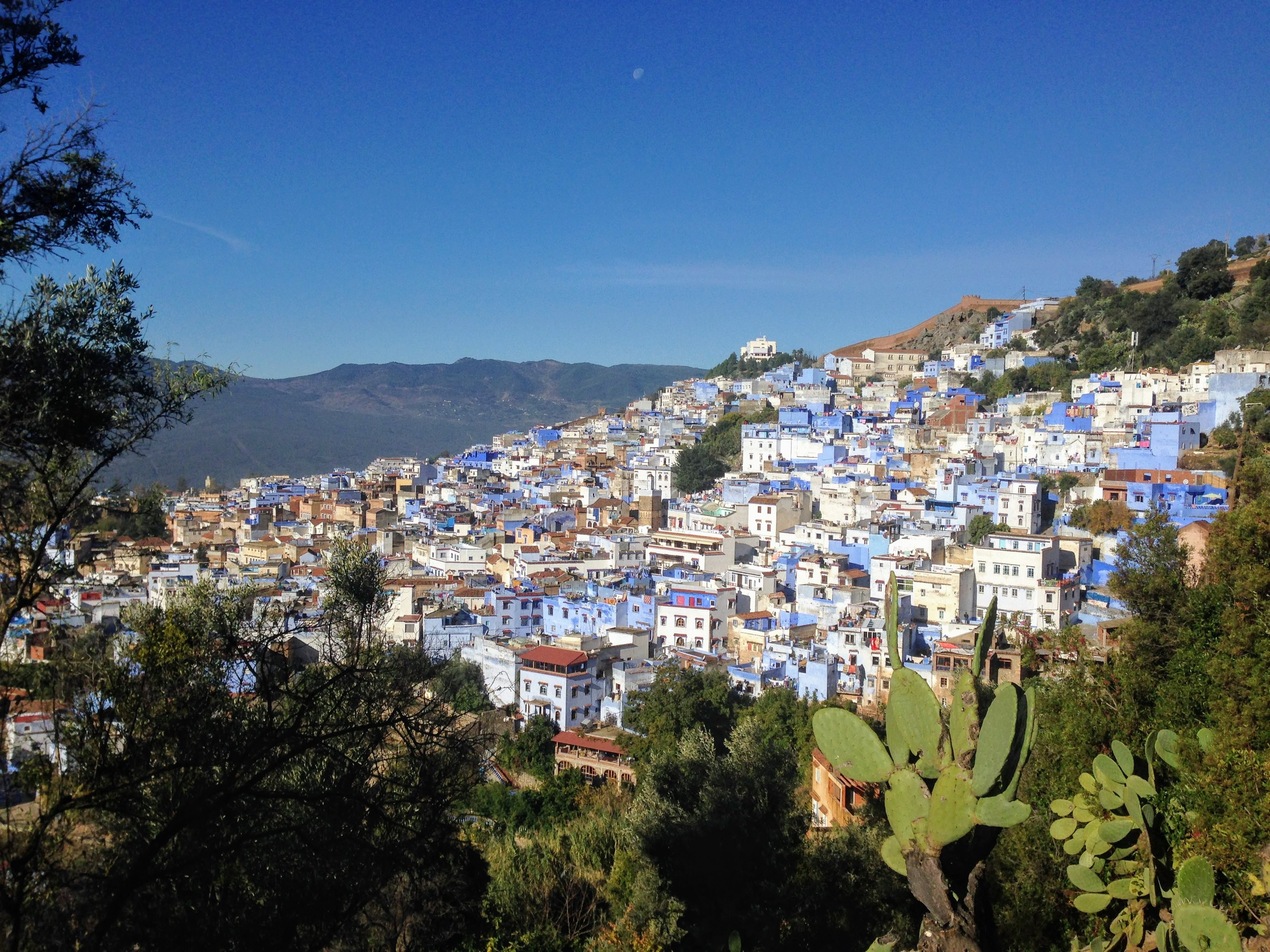 Chefchaouen Morocco blue city blue pearl viewpoint old medina Spanish Mosque