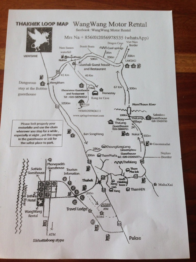 thakhek laos motorbike loop map