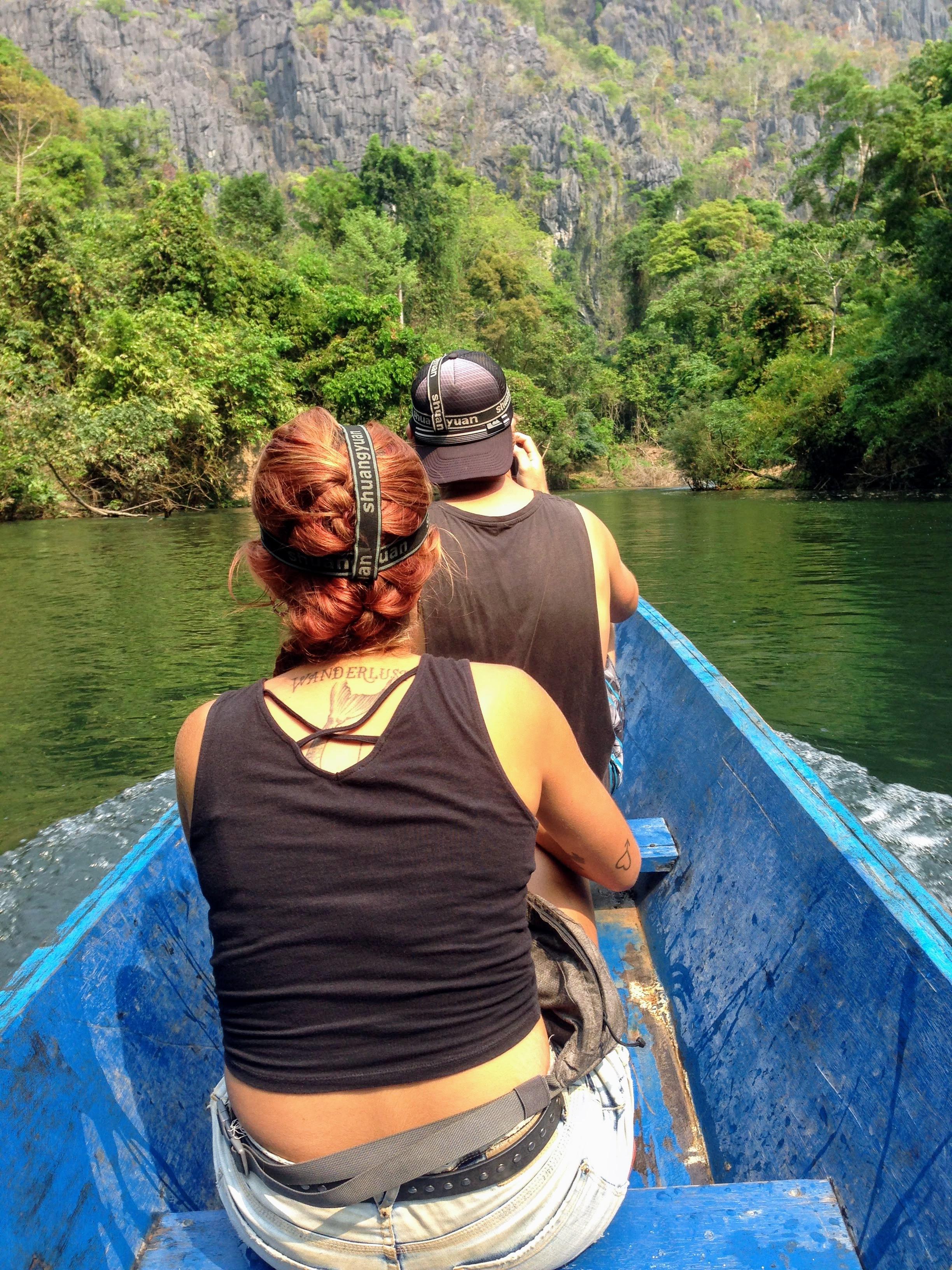 Kong Lor cave motorbike loop Thakhek Laos boat