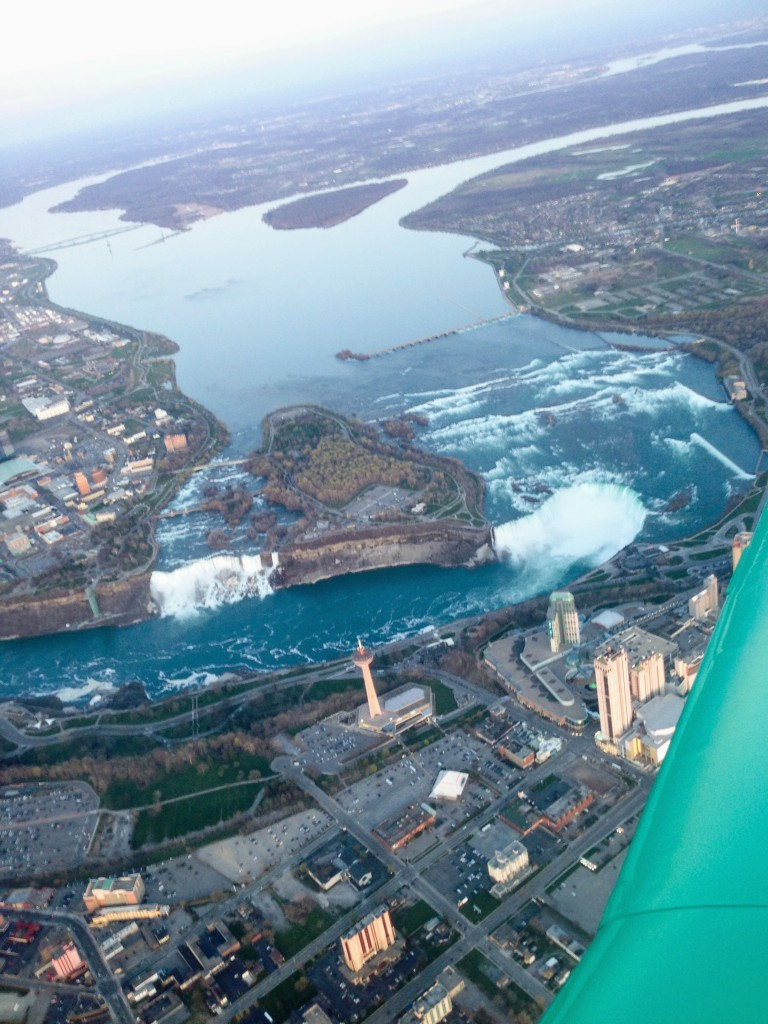 flying over Niagara Falls Buffalo New York USA United States airplane
