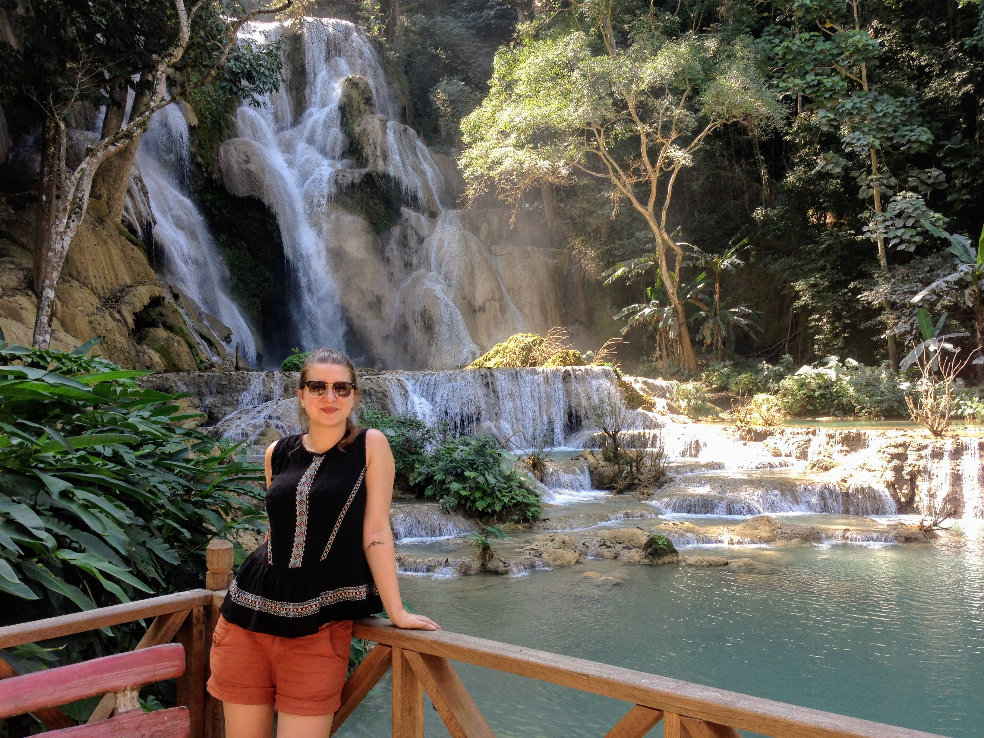 Laos Luang Prabang Kuang Si Waterfalls solo female backpacking