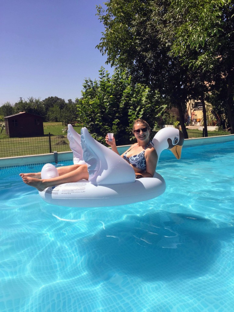 Italy Bologna swimming pool swan floatie drink summer vacation