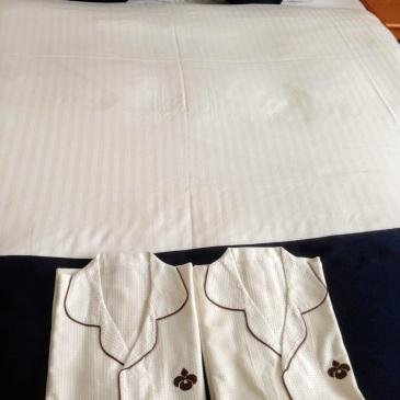 hotel bed pyjamas Japan Hiroshima
