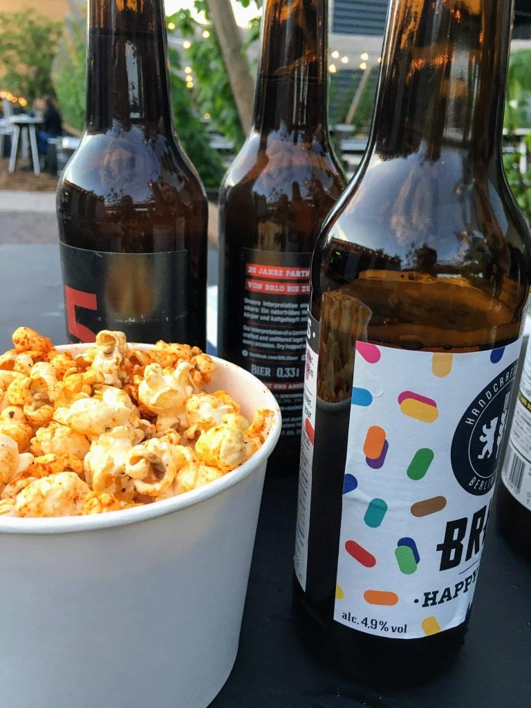 BRLO beer garden Happy Pils popcorn craft beer